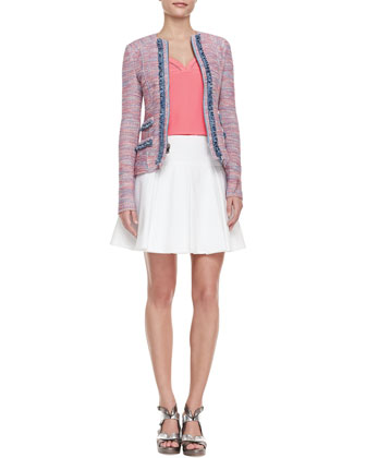 Sand Castle Trimmed Tweed Jacket, Tiki Perforated-Trim Sleeveless Top & ...