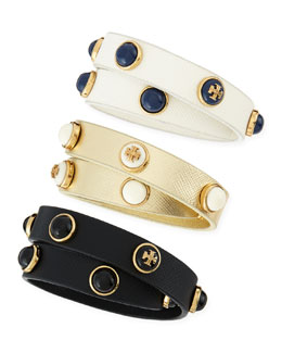 Tory Burch Melodie Double-Wrap Leather Bracelet