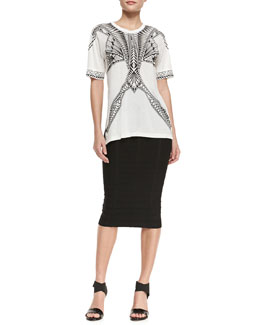 Herve Leger Short-Sleeve Printed Jersey Top & Sia Below-The-Knee Bandage Skirt