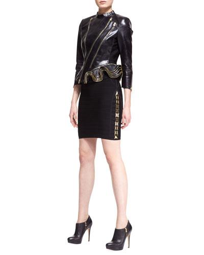 Herve Leger Leather Double-Zip Jacket & LilyKate Hardware Bandage Dress