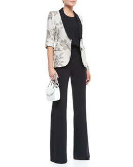 L'Agence Dinner Metallic Rose Two-Button Jacket & Wide Leg Halter Jumpsuit