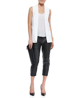 Alice + Olivia Tux Vest, Relaxed Silk Tank & Anders Cropped Leather/Ponte Pants