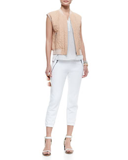 Rebecca Taylor Patterned Leather Vest with Knit Trim, Senia Polka-Dot Sleeveless Tank & Basic Drawstring Fleece Pants