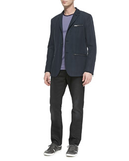 John Varvatos Star USA Tonal-Plaid Zip-Pocket Sport Coat, Colorblock Jersey Tee & Bowery Denim Jeans