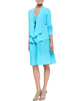 Eileen Fisher Organic-Linen Angled-Front Cardigan & Knee-Length Bias Dress, Women's