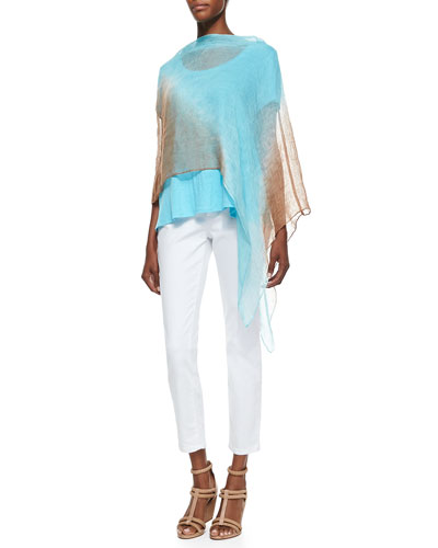 Eileen Fisher Halo Shibori Linen Poncho, A-Line Lucky Organic-Linen Tee & Organic Skinny Ankle Jeans