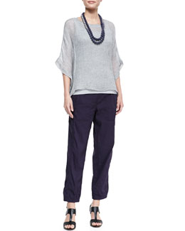Eileen Fisher Woven Short-Sleeve Poncho Top, Slim Long Tank, Cargo Linen-Blend Ankle Pants & Mini Striped Beaded Necklace