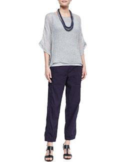 Eileen Fisher Woven Short-Sleeve Poncho Top, Slim Long Tank, Cargo Linen-Blend Ankle Pants & Mini Striped Beaded Necklace, Women's