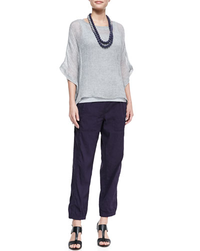 Eileen Fisher Woven Short-Sleeve Poncho Top, Slim Long Tank, Cargo Linen-Blend Ankle Pants & Mini Striped Beaded Necklace, Women's