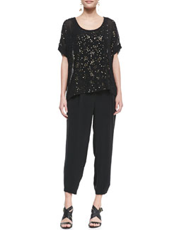 Eileen Fisher Sequined Chiffon Boxy Top & Silk Drawstring Cropped Pants, Petite