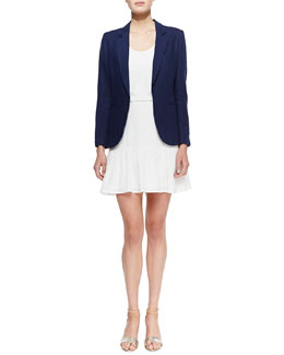 Joie Mehira Linen Notch-Collar Blazer & Ori Ruffle-Hem Sleeveless Dress