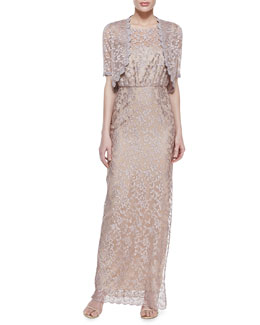 Laundry by Shelli Segal Sheer Lace Shrug & Lace Sleeveless Tank Gown