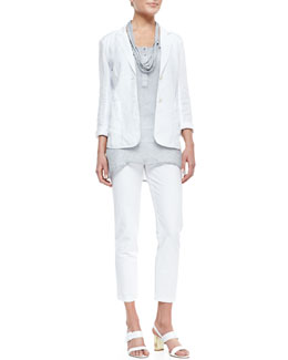 Eileen Fisher Handkerchief Linen 2-Button Jacket, Sleeveless Mesh Henley Tunic, Slim Tank, Ankle Pants & Drapey Metallic Necklace, Petite