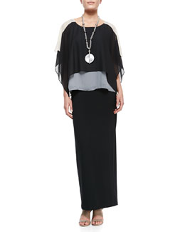 Eileen Fisher Layered Sheer Colorblock Top, Slim Camisole & Fold-Over Maxi Skirt, Petite
