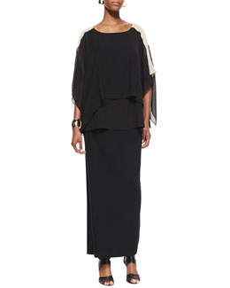 Eileen Fisher Layered Sheer Colorblock Top, Slim Camisole & Fold-Over Maxi Skirt, Women's