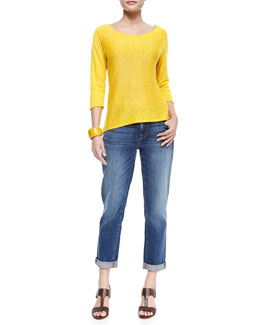 Eileen Fisher 3/4-Sleeve Lightweight Linen Top & Stretch Boyfriend Jeans