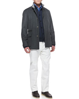 Loro Piana St. Germain Cashmere Jacket, Lightweight Cashmere Cardigan, Andre Button-Down Shirt & Four Pocket Cotton Pants
