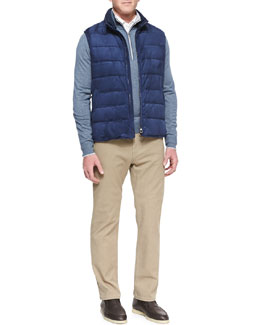 Loro Piana New Cortina Suede Vest, Mezzocollo Portland 1/4-Zip Sweater, Long-Sleeve Pique Polo & Brisbane Delave 5-Pocket Pants