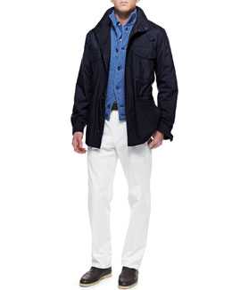 Loro Piana Traveler Windmate Storm System Jacket, Cashmere Quilted-Diamond Vest, Andre Button-Down Shirt & Four-Pocket Cotton Pants