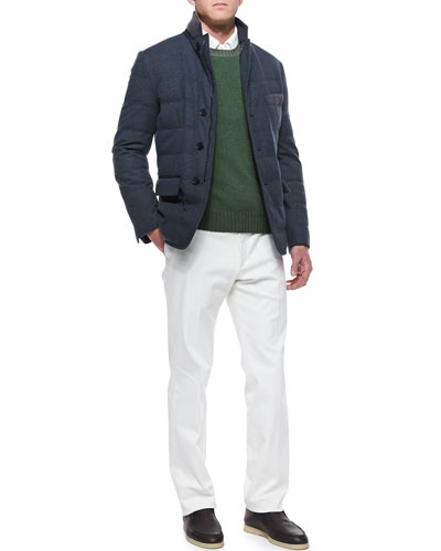Loro Piana Baby Cashmere Storm Jacket, Baby Cashmere Crewneck Sweater, Long-Sleeve Cotton-Pique Polo & Four-Pocket Cotton Pants