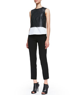 Theory Easeful Hodal L Leather Crop Top and Kuril Item Cropped Trousers