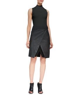 Theory Prosecco Everleen Crop Top & Derion Easeful Notched Leather Skirt