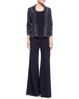Misook Spider Web One-Button Jacket, Slim Scoop-Neck Tank & Palazzo Wide-Leg Pants