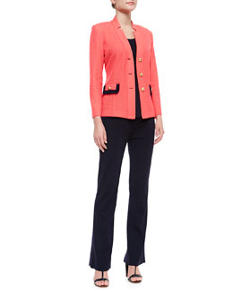 Misook Textured Three-Button Jacket, Slim Scoop-Neck Tank & Boot-Cut Knit Pants, Petite