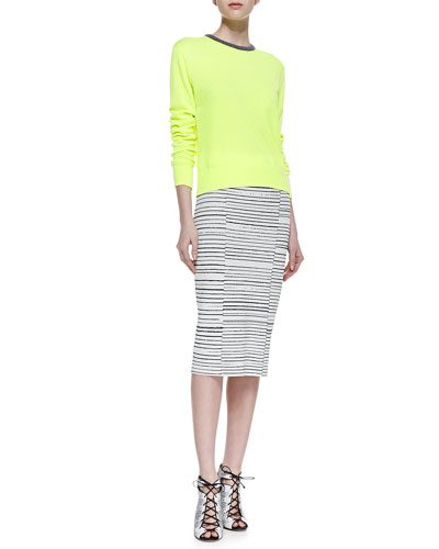A.L.C. Margo Contrast-Collar Knit Sweater & Lyons Striped Ponte Pencil Skirt