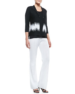 Misook 3/4-Sleeve Graphic-Print Jacket, Slim Scoop-Neck Tank & Boot-Cut Knit Pants, Women's