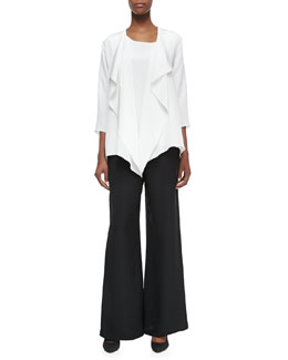 Caroline Rose Silk Crepe Drape Jacket, Long Crepe Tank & Silk Crepe Wide-Leg Pants, Women's