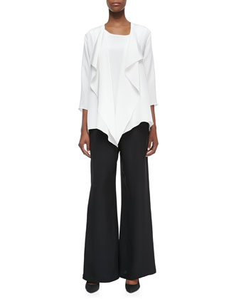 Silk Crepe Drape Jacket, Long Crepe Tank & Silk Crepe Wide-Leg Pants, ...