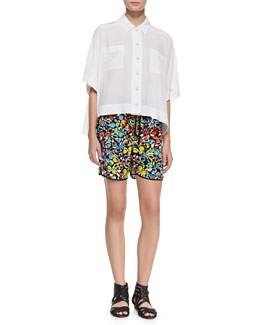 MARC by Marc Jacobs Frances Crepe de Chine Oversize Blouse & Jungle-Print Drawstring Silk Shorts
