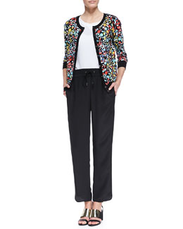 MARC by Marc Jacobs Jungle-Print Knit Cardigan, Frances Crepe de Chine Sporty Blouse & Frances Crepe de Chine Track Pants