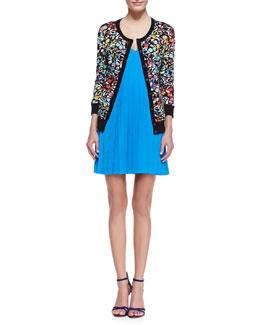 MARC by Marc Jacobs Jungle-Print Knit Cardigan & Frances Pleated Sleeveless Silk Dress