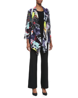 Caroline Rose Explosive-Print Waterfall Jacket, Long Tank & Straight-Leg Jersey Pants