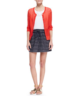 MARC by Marc Jacobs Rose See-Through Knit Cardigan, Frances Crepe de Chine Sporty Blouse & Dalea Pleated Silk Tweed Skirt