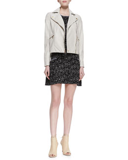 MARC by Marc Jacobs Avery Crackled Cropped Leather Jacket & Cassidy Solid-Trim Jacquard Dress