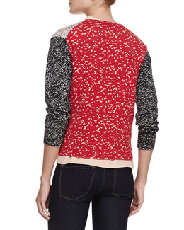 MARC by Marc Jacobs Tweed-Back Printed Cardigan & Sleeveless Side-Ruffle Silk Blouse