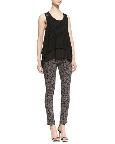 MARC by Marc Jacobs Yuki Sleeveless Layered Eyelet Top & Heather Skinny Jacquard Pants