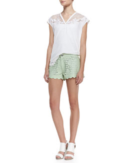 Rebecca Minkoff Amaral Net-Shoulder Silk Top & Tondero Scalloped Cutout Leather Shorts