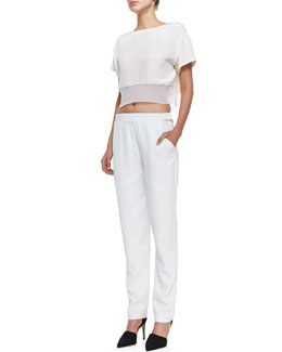 Rebecca Minkoff Antoni Net-Hem Crop Top & Ara Stretch-Waist Straight Pants