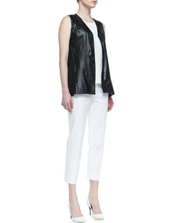 Lafayette 148 New York Lambskin Leather Vest with Georgette Back, Lucy Matte Silk High-Low Top & Metro Stretch Bleecker Cropped Pants