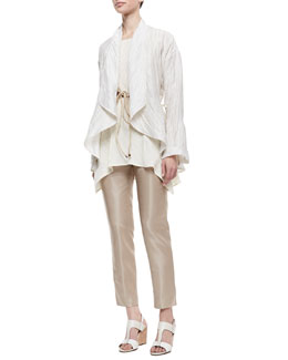 Lafayette 148 New York Lazzar Linen-Blend Topper Jacket, Isadora Sleeveless Ruffle Hem Tunic & Leather Cord Tie Belt