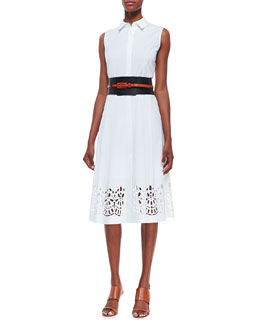 Lafayette 148 New York Bronte Sleeveless Shirtdress & Removable Layered Obi Belt