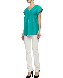 Lafayette 148 New York Lanai Lambskin Short-Sleeve Top & Curvy Slim Jeans