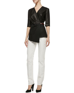 Lafayette 148 New York Leather Combo Wrap Blouse & Curvy Slim Jeans