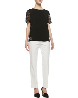 Lafayette 148 New York Short-Sleeve Sweater with Eyelet Detail, V-Neck Jersey Tank Top & Metro Stretch Bleecker Cropped Pants
