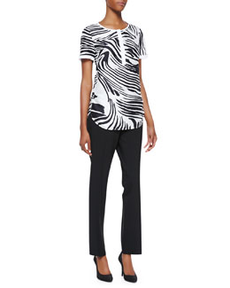 Lafayette 148 New York Shari Short Sleeve Zebra-Print Top & Bleecker Cropped Pants