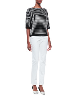 Lafayette 148 New York Elbow Sleeve Horizontal Striped Top & Curvy Slim Jeans